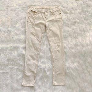 Denim - Juniors off white distressed skinny jeans size 13